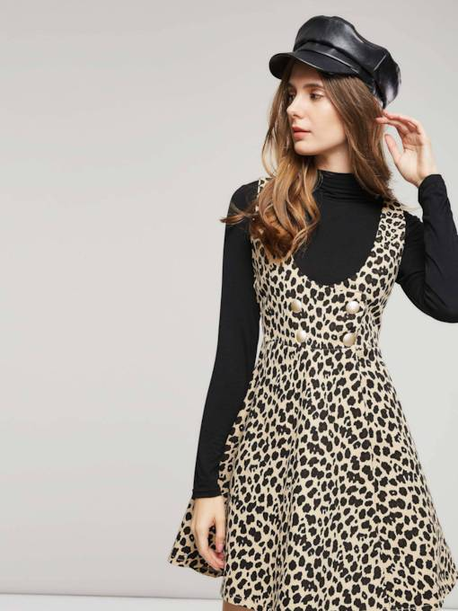 Leopard Double-Breasted Women's Long Sleeve Dress