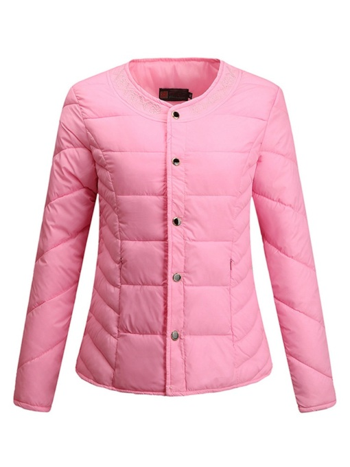Single-Breasted Solid Color Women's Cotton Padded Jacket