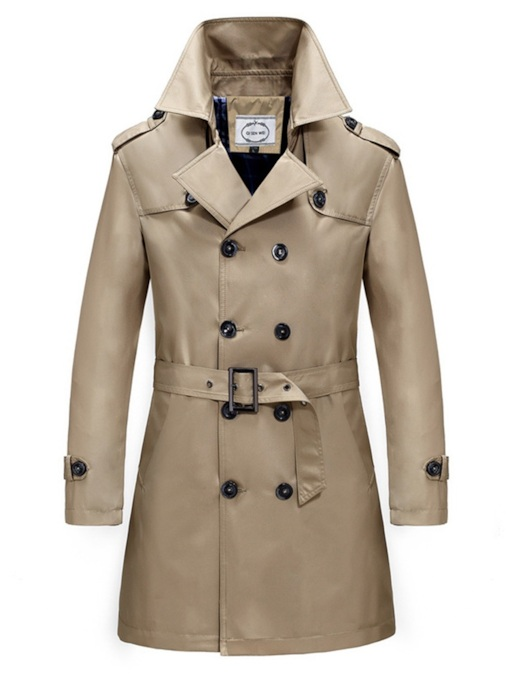 Slim Lapel Thin Belt Plain Mid-Length Men's Trench Coat