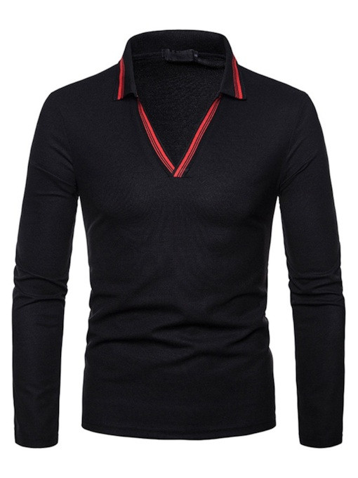 V-Neck Lapel Patchwork Slim Men's Polo T-Shirt