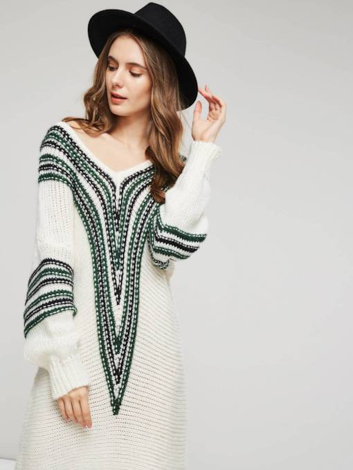 Off Shoulder Loose Fit Pullover Mid Length Women's Sweater