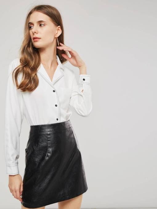 Notched Lapel Single-Breasted Slim Fit Women's Shirt