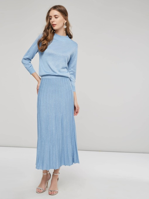 Knit Slim Pleated High Collar Women's Two Piece Dress