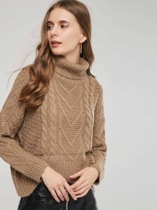 Plain High Neck Pullover Short Women's Sweater