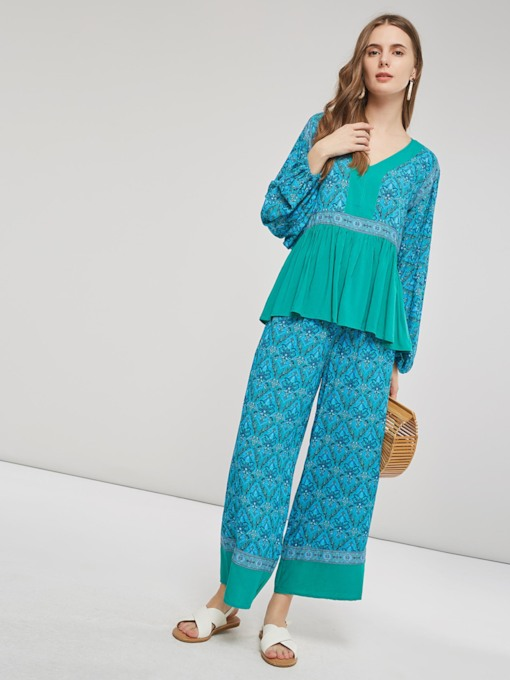 Ethnic Print Ruffle Shirt and Pants Women's Two Piece Set