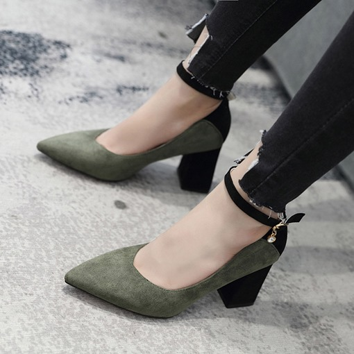 Pointed Toe Chunky Heel Line-Style Buckle Casual Women's Pumps