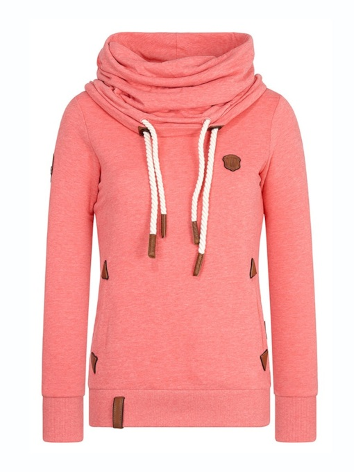 Plain Pleated Drawstring Women's Hoodie