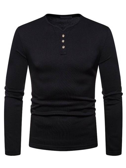 V-Neck Slim Buttons Plain Men's T-Shirt