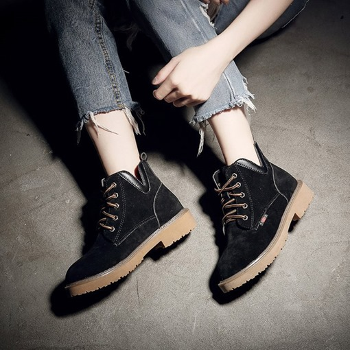 Lace-Up Front Block Heel Round Toe Martin Boots