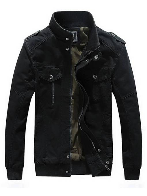 Slim Stand Collar Zipper Plain Thick Men's Jacket