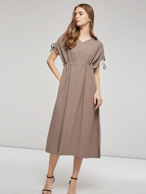 Short Sleeves Lace Up Plain Women's Maxi Dress