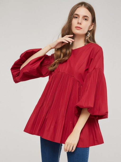 Pleated Peplum Lantern Half Sleeve Women's T-Shirt