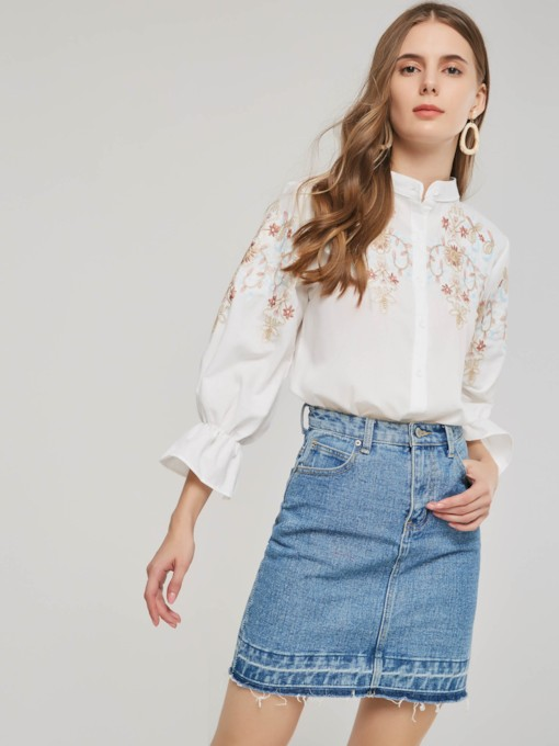 Embroidery Stand Collar Frill Lantern Sleeve Women's Shirt