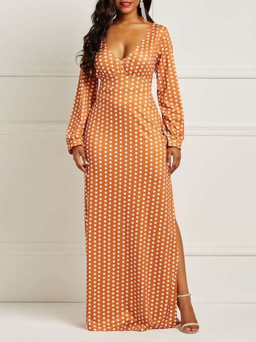 Split V-Neck Long Sleeve Pullover Women's Maxi Dress
