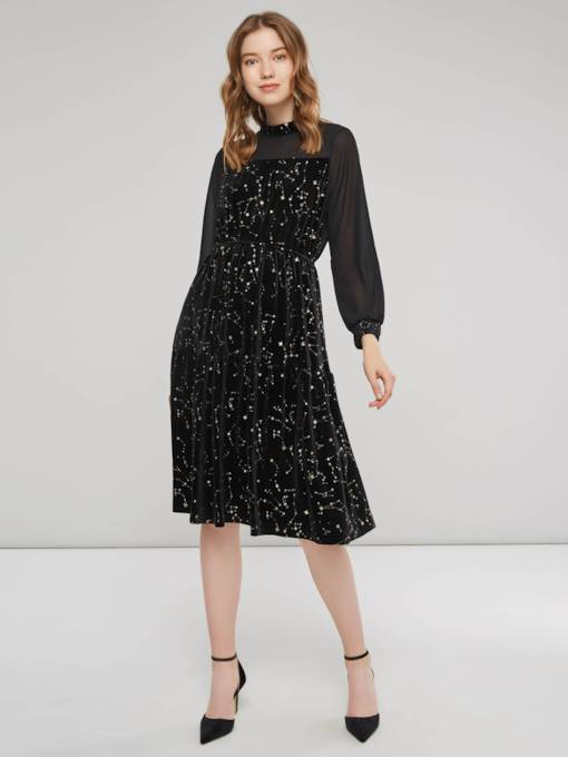 Patchwork Sequins Decorated Women's Long Sleeves Dress