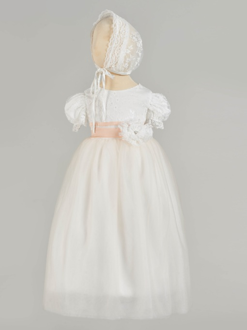 Short Sleeve Lace Baby Girl's Christening Gown with Bonnet