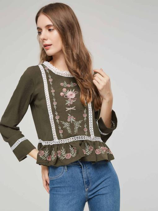 Bohemian Hollow Embroidery Ruffle Peplum Women's Blouse