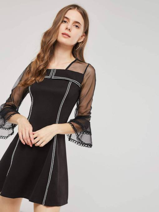 See-Through Square Neck Women's Day Dress