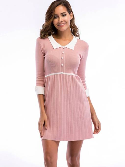 3/4 Length Sleeves Button Women's Day Dress