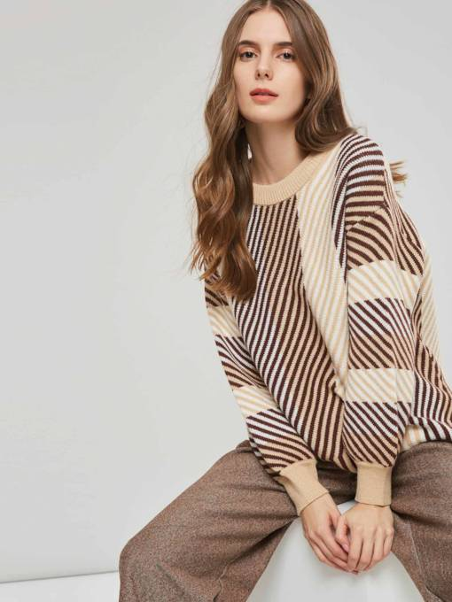 Plain Stripe Print Color Block Women's Sweater