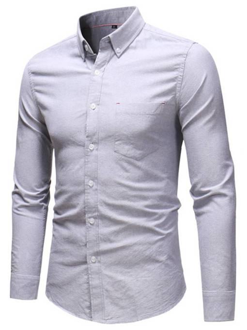 Lapel Plain Slim Men's Long Sleeves Shirt