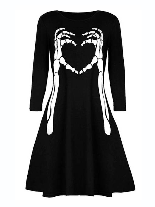 Skull Prints Women's Long Sleeve Dress