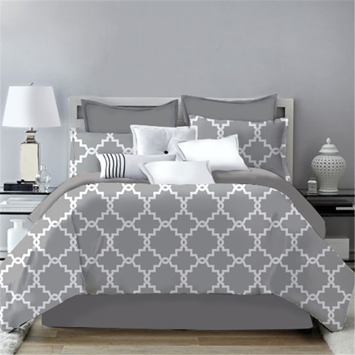 Simple Plaid Geometric Design Grey 4-Piece Polyester Bedding Sets/Duvet Cover