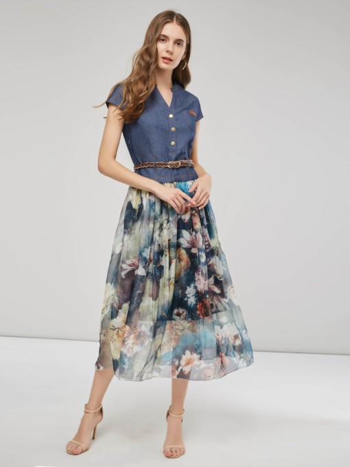 Patchwork Single-Breasted Floral Women's Day Dress