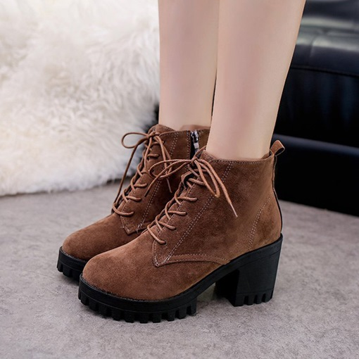 Round Toe Lace-Up Front Chunky Heel Platform Women's Ankle Boots