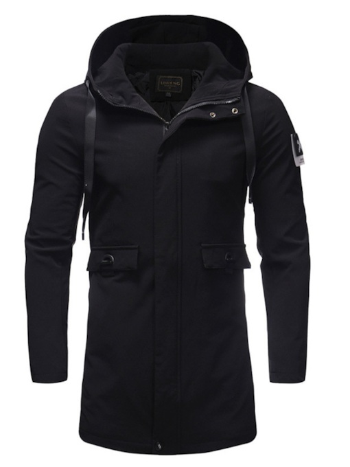 Slim Hooded Zipper Pockets Mid-Length Plain Men's Coat