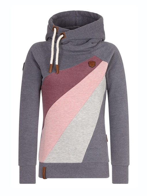 Color Block Patchwork Drawstring Women's Hoodie