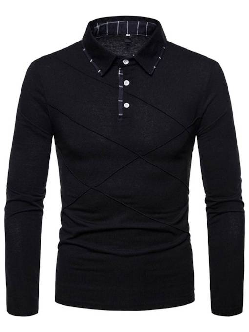 Polo Neck Slim Patchwork Plain Men's Shirt
