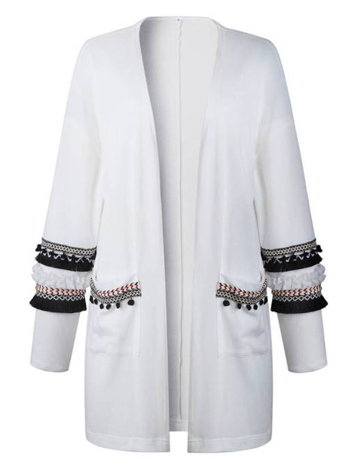 Tassel Open Front Mid Length Dual Pocket Women's Cardigan