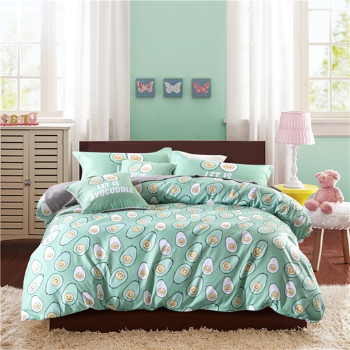 Personified Smiling Avocado Turquoise 4-Piece Polyester Bedding Sets/Duvet Cover