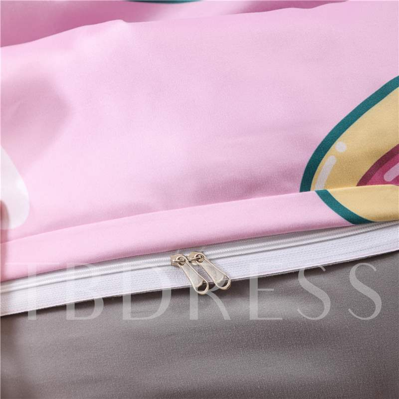 Hand-painted Avocado Printing Pink 4-Piece Polyester Bedding Sets/Duvet Cover