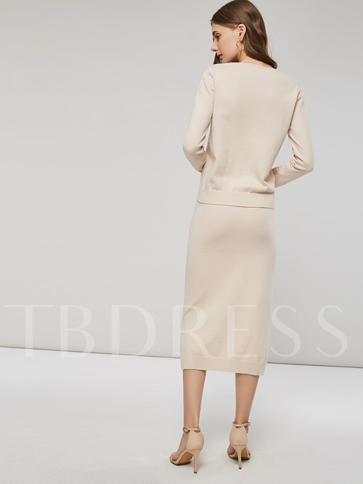 Long Sleeves Sweater and Skirt Women's Two Piece Dress
