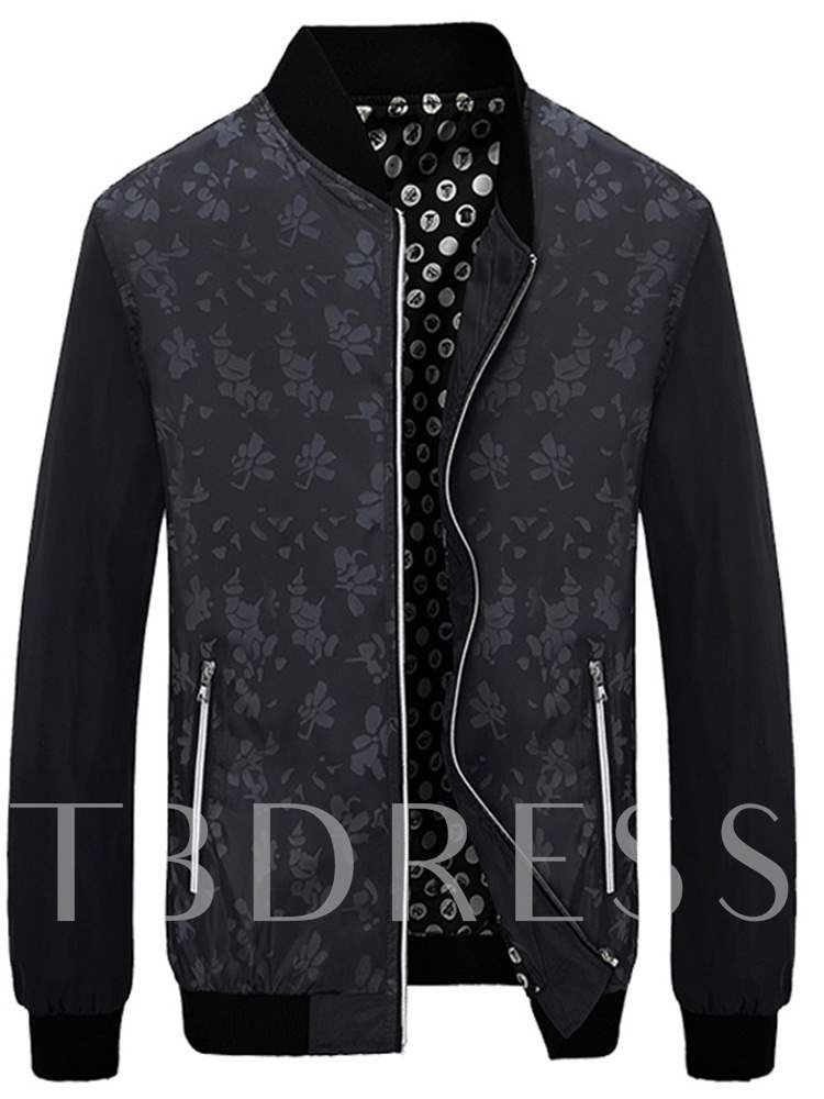 Buy Slim Stand Collar Zipper Floral Print Men's Jacket, Fall,Winter, 13425923 for $40.71 in TBDress store