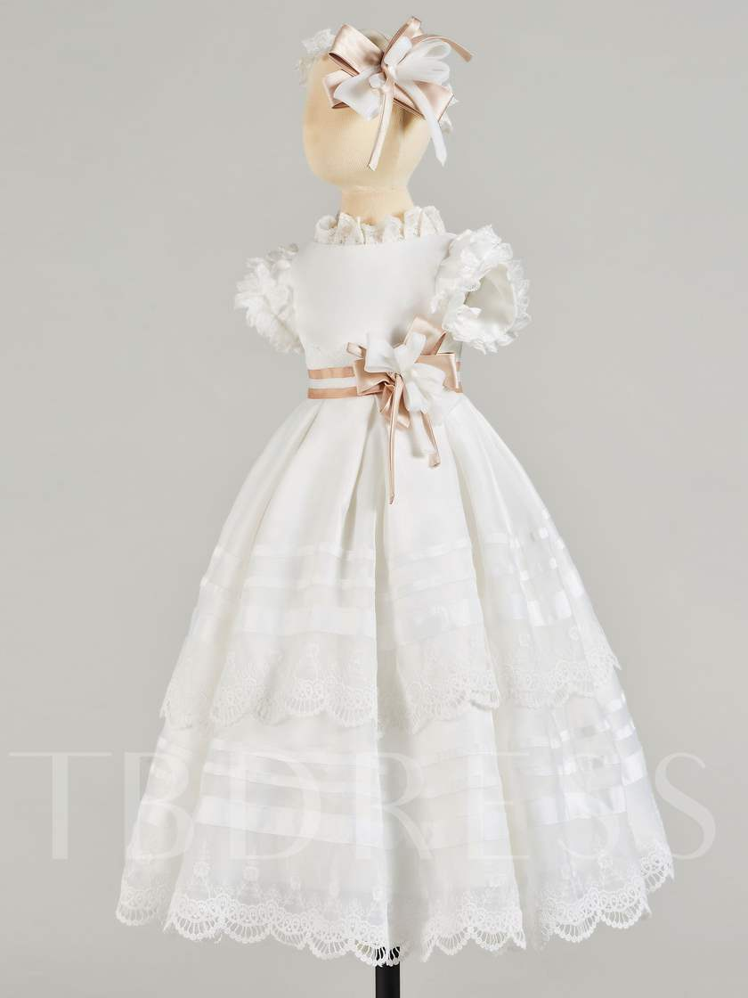 Lace High Neck Sleeves Baby Girl's Christening Gown