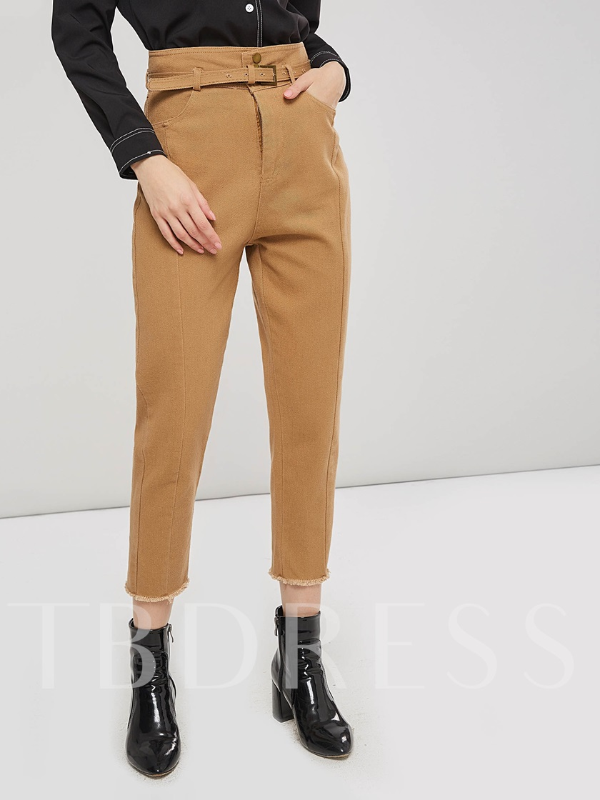 Belted Tapered Paper Bag Pants