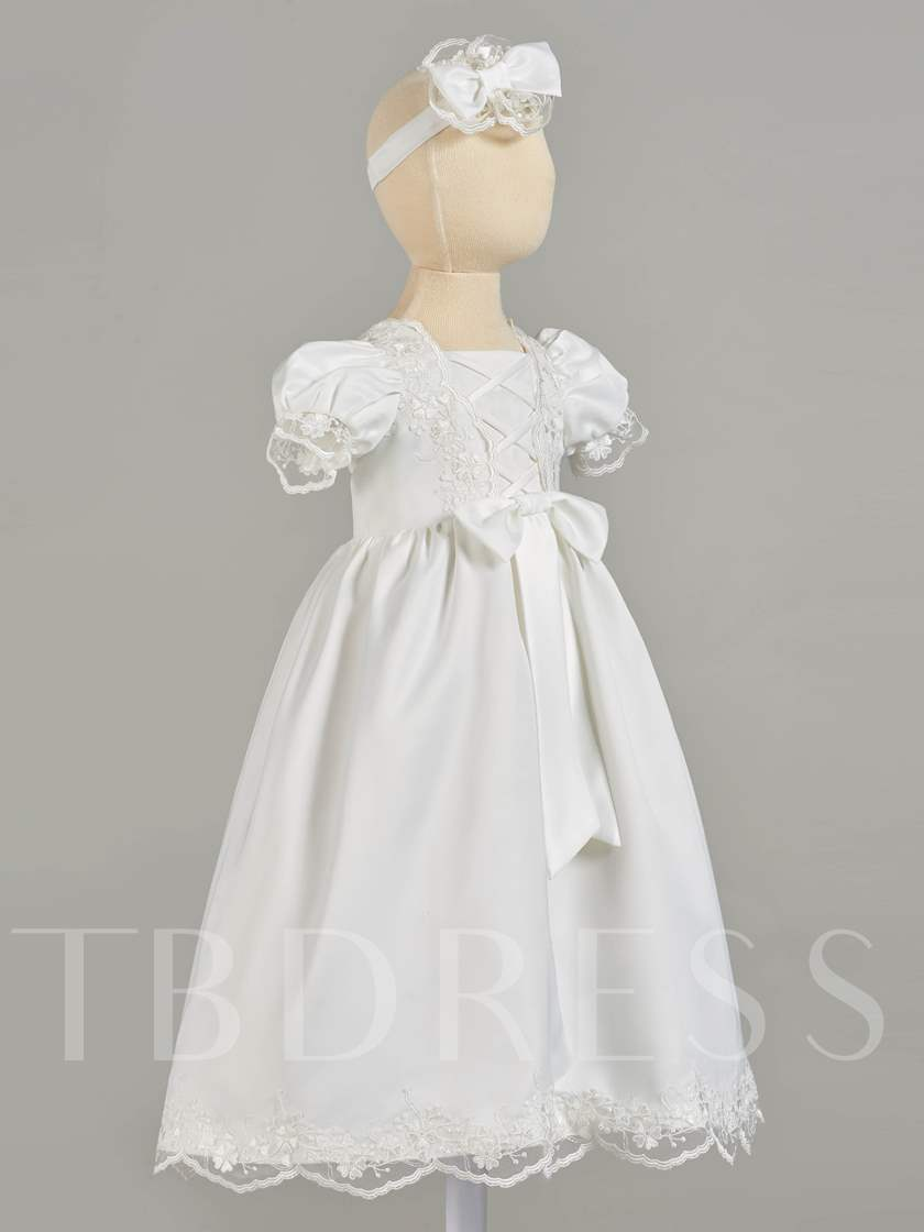 Lantern Sleeve Lace-Up Lace Baby Girl's Christening Gown