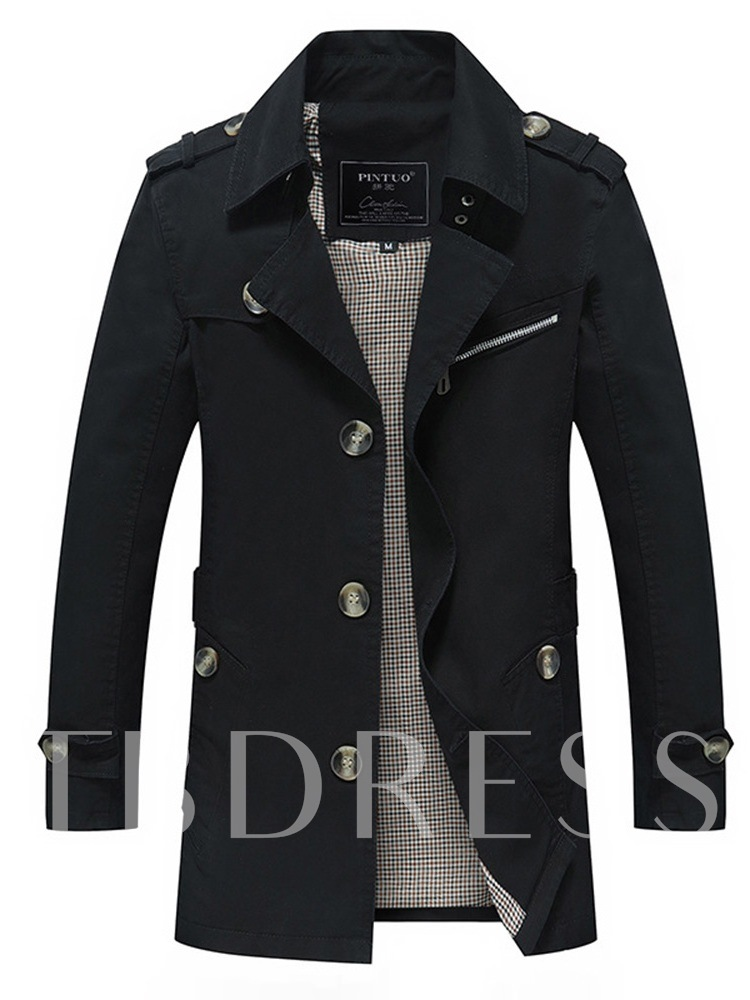 OL Style Slim Lapel Mid-Length Plain Men's Trench Coat