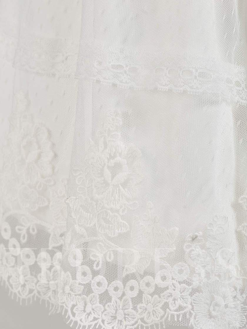 Cap Sleeve Lace Baby Girl's Christening Gown with Hat