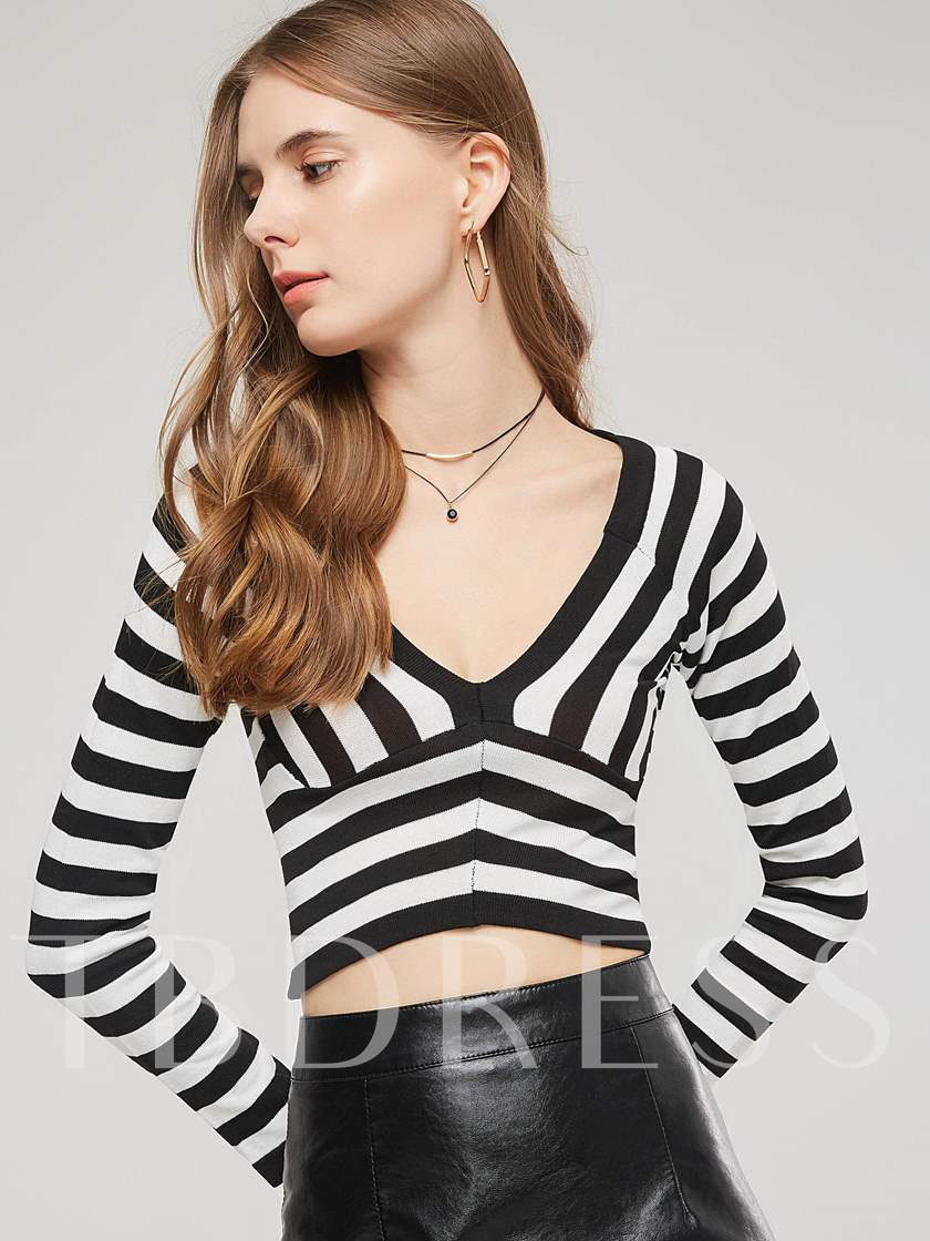 Deepe V-Neck Thin Stripe Women's Cropped Sweater