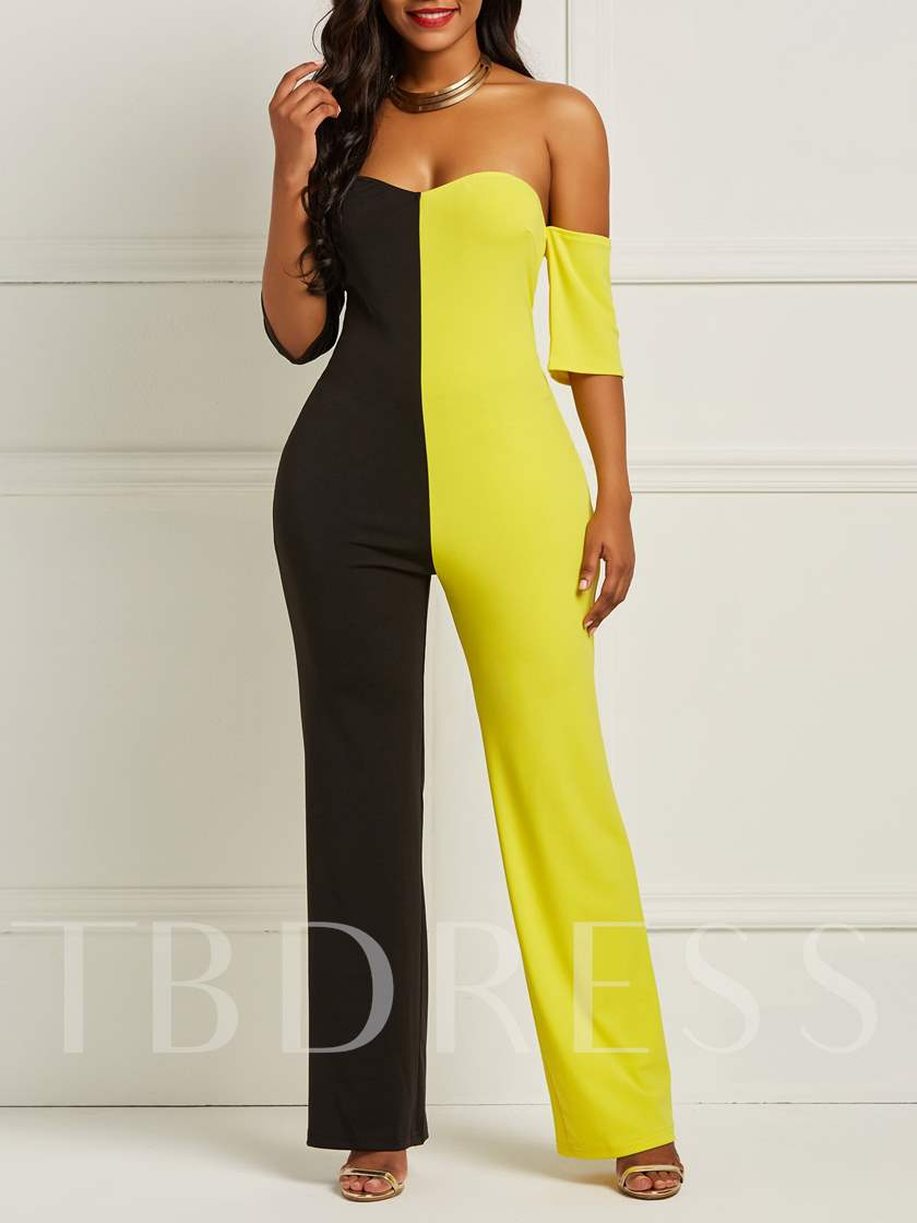 Full Length Patchwork Sexy Color Block Straight Women's Jumpsuits