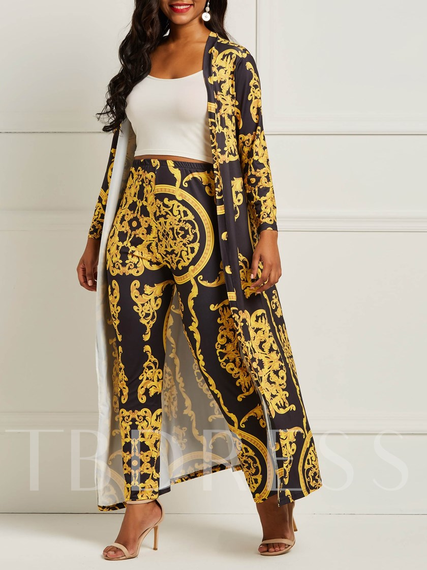African Fashion Print Casual Floral Coat Pencil Pants Women's Two Piece Sets