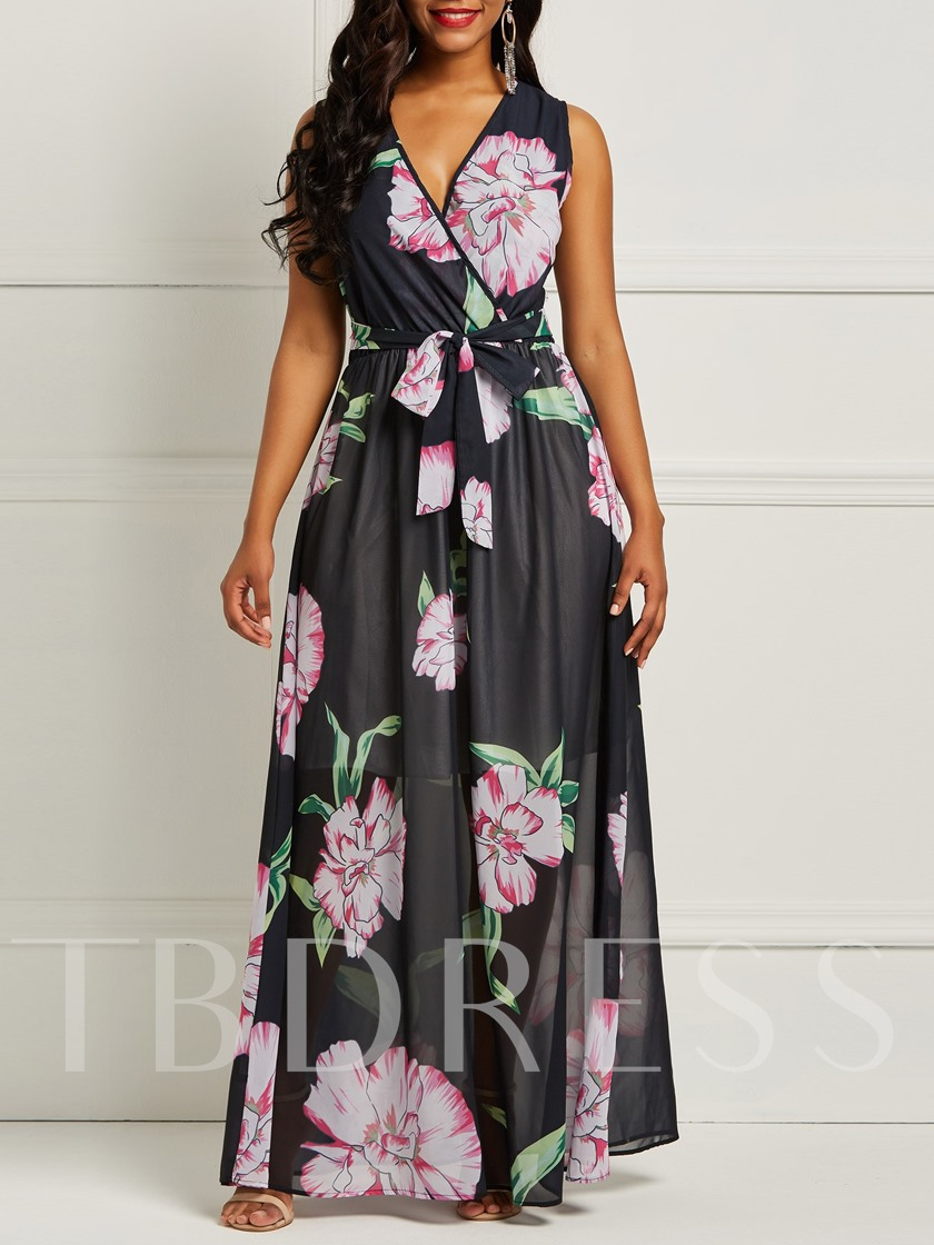 Print V-Neck Sleeveless Floral Women's Maxi Dress