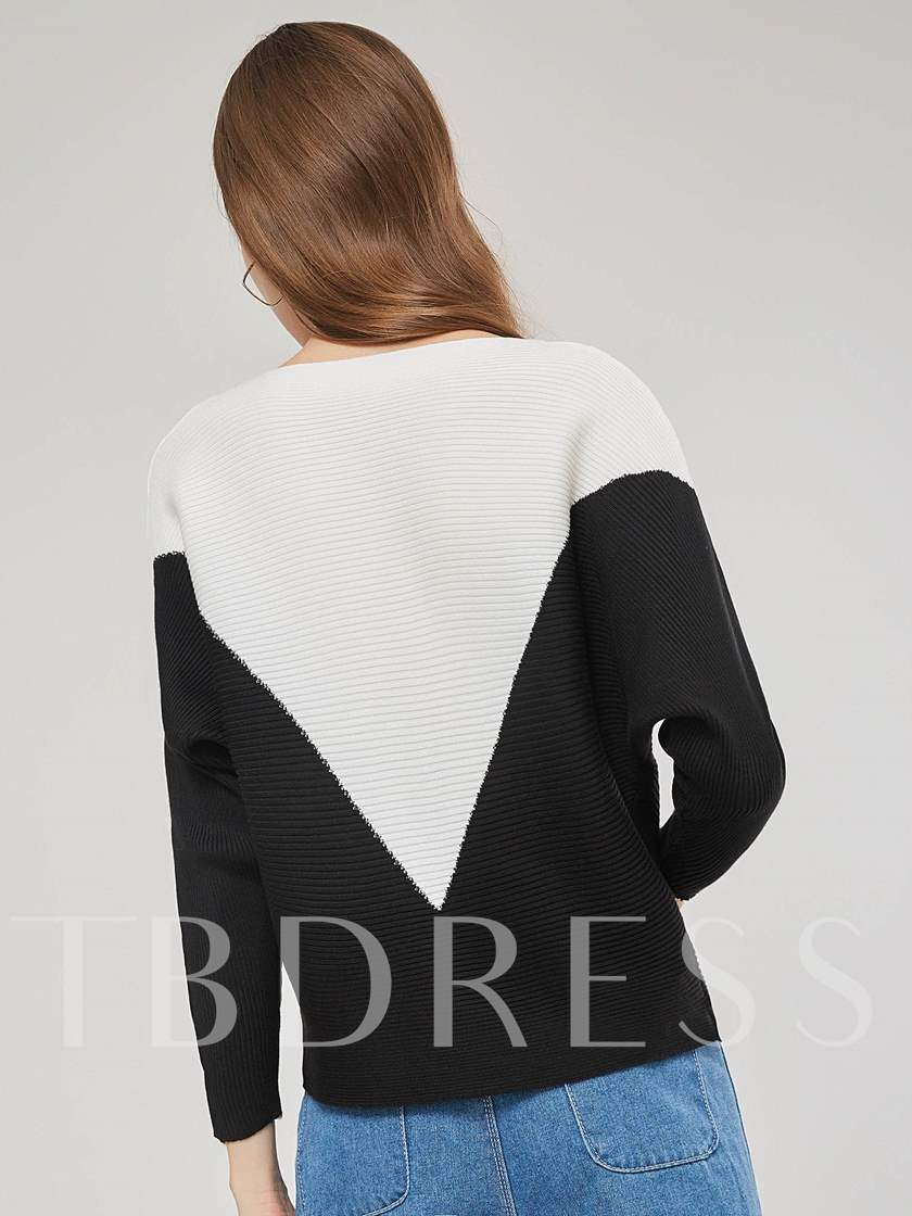 Plain Contrast Color Round Neck Women's Sweater