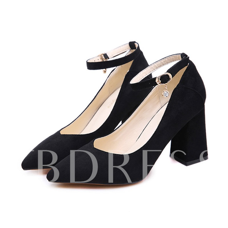 Buy Pointed Toe Chunky Heel Line-Style Buckle Casual Women's Pumps, Spring,Summer,Fall, 13427187 for $35.65 in TBDress store