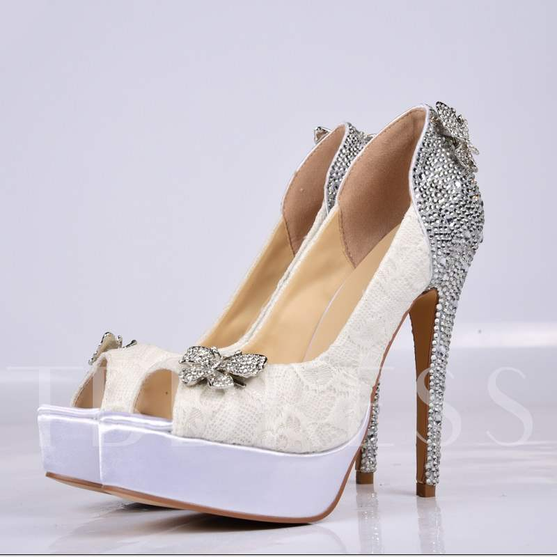 Beading Butterfly High Heel Peep-Toe Wedding Shoes