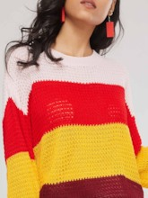 Color Block Bell Sleeve Loose Fit Women's Sweater